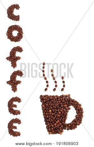 Coffee word from coffee roasted grains on a white background