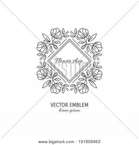 Vector flower frame symbol. Line style logotype for flower shop isolated on white background and easy to use. Perfect logo for your business. Clean and minimalistic symbols.