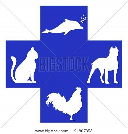 Veterinary cross with dog, dolphin, rooster and cat inside. Logo klinik. Doctors save the life of animals