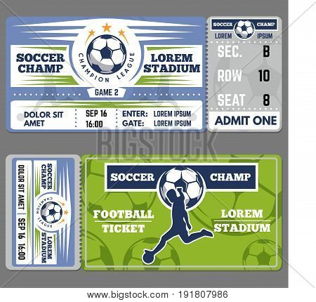 Football ticket template design. Coupon for soccer sporting event, fan mockup card. Vector flat style cartoon illustration isolated on gray background