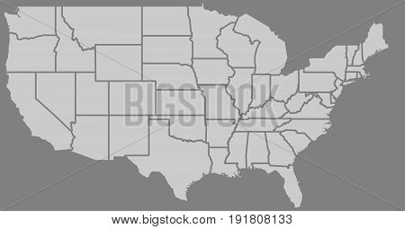 Blank similar high detailed USA map isolated on gray background. United States of America country with state borders. Vector template info graphics. Graphics closeup illustration.