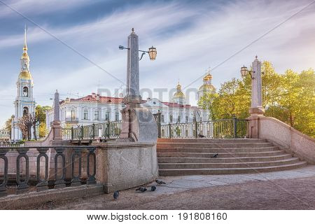 St. Petersburg Krasnogvardeysky bridge In the background St. Nicholas Naval Cathedral and belltower Russia