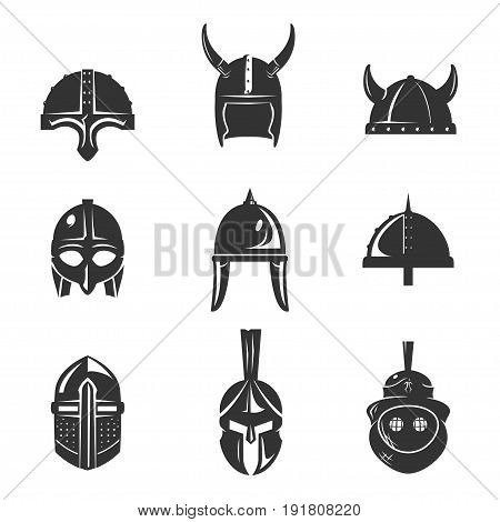 Warrior helmet flat icon set. Combat accessory, piece of personal armor designed for battle. Vector flat style illustration isolated on white background
