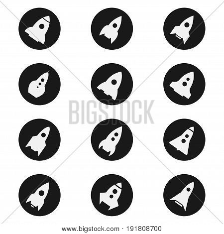 Rocket ship, spacecraft icon set launches into space. Types of tall, thin, round vehicle in black. Vector flat style illustration isolated on white background