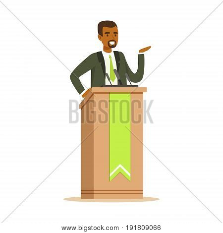 Politician man speaking behind the podium, public speaker character vector Illustration isolated on a white background