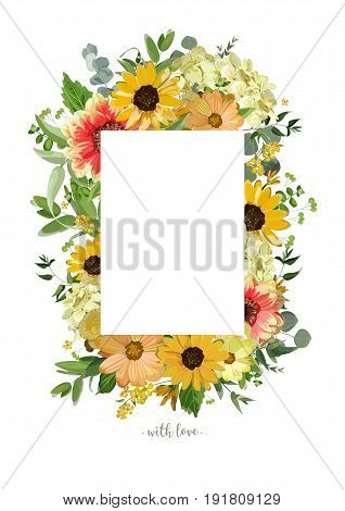 Vector design vertical card. Yellow sunflower soft hydrangea flowers red dahlia eucalyptus jasmine branches leaves. Elegant summer autumn fall blank paper invitation wedding design isolated white