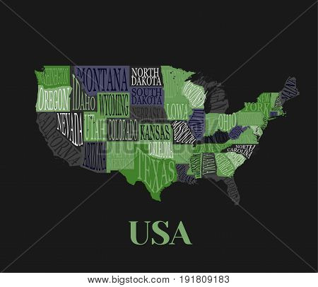 USA map with states- pictorial geographical decorative poster of America hand drawn lettering design for wall decoration print. Unique creative typography vector illustration in black and green color.