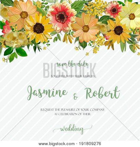 Flower Wreath composition floral frame of various yellow Dahlia Sunflower cosmos Eucalyptus Leaves. Beautiful vector illustration square Watercolor design invitation card on blue stripe background.