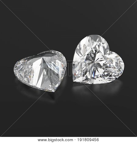 3D illustration two diamonds hearts with reflection on a black background
