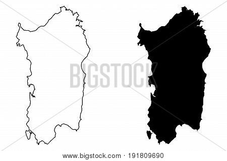 Sardinia island map vector illustration , scribble sketch Sardinia island