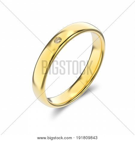 3D illustration classic yellow gold ring with diamond on a white background
