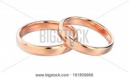 3D illustration classic rose gold rings on a white background