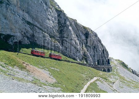 Pilatus Train Of Mount Pilatus On The Swiss Alps