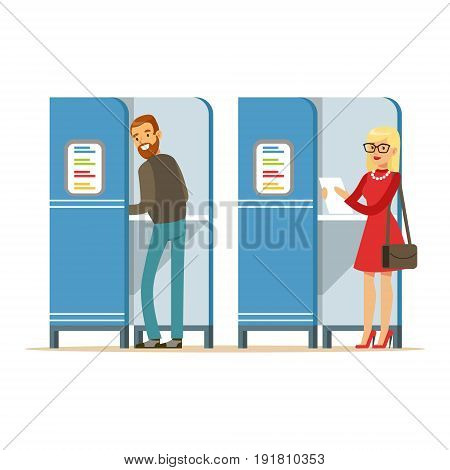 Man and woman in voting booths casting their ballots vector Illustration isolated on a white background