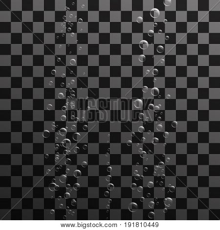 Vector illustration. Transparent air bubbles in clear water. Background for posters, banners for detergents, soap, shampoo.