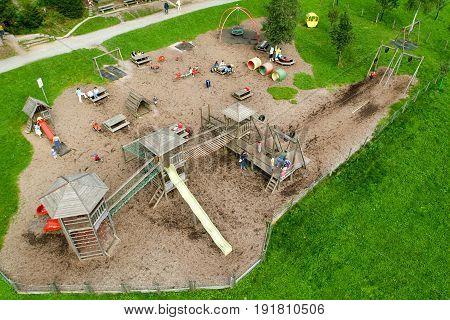 Children Playing In The Playground Of Mount Pilatus