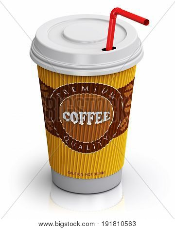 Creative abstract 3D render illustration of plastic or cardboard paper coffee to go or take away drink cup with red straw isolated on white background with reflection effect