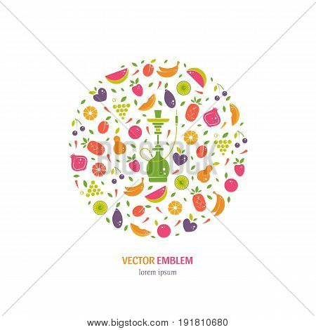 Vector logo design template with fruit and hookah in trendy flat style. Abstract circle emblem for hookah menu, hookah house, cafe and tobacco packaging design. Vector illustrations isolated on white.