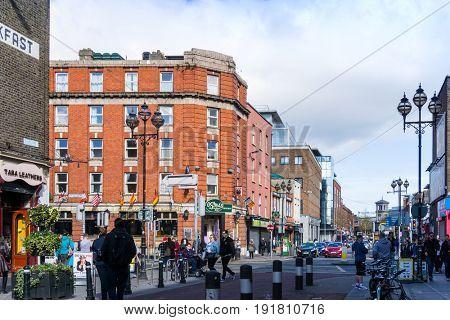 DUBLIN, IRELAND - March 31, 2017: Traditional antique city building in Dublin Ireland
