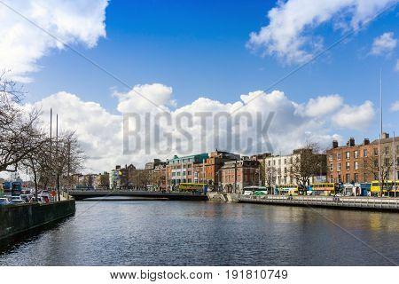 DUBLIN, IRELAND - March 31, 2017: Dublin City Center and river Liffey in Dublin Ireland