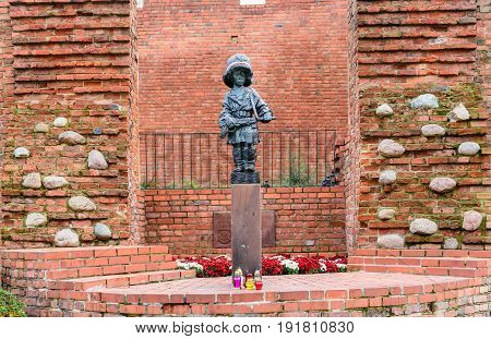 Warsaw, Poland - November 4, 2016: the monument to the little insurgent in Warsaw. Little rebel - is a collective image of all the children who participated in the Warsaw uprising.