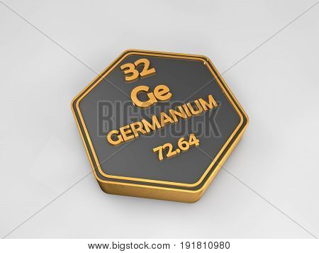 germanium - Ge - chemical element periodic table hexagonal shape 3d render