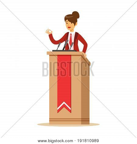Young politician woman speaking behind the podium, public speaker character vector Illustration isolated on a white background