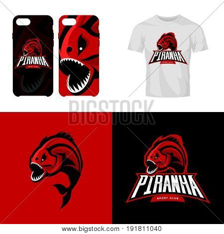 Furious piranha isolated sport vector logo concept. Modern team predator badge mascot design.Premium quality wild fearsome fish t-shirt tee print illustration. Smart phone case accessory emblem.