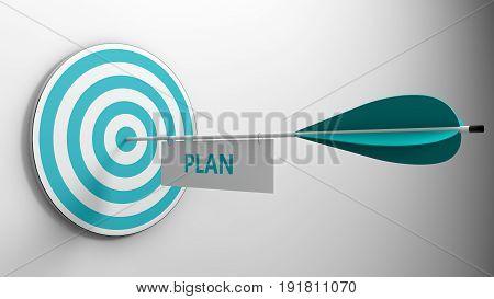 plan concept arrow hit center of target 3d render