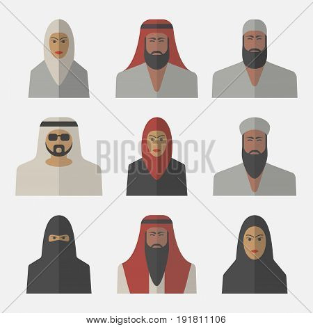 Arabic people, arab woman, arabian man, flat icons Vector illustration