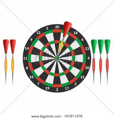 Vector illustration. The game of darts. Icon.