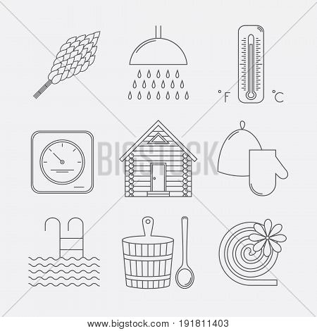 Set of sauna icons. Illustration of russian banya elements. Icons set.