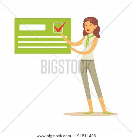 Young woman pointing to an agitation poster, political agitation campaign vector Illustration isolated on a white background