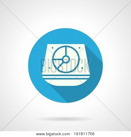 Abstract white silhouette symbol of turntable sound mixer. Music dj equipment for party, festivals, show. Round flat design blue vector icon.