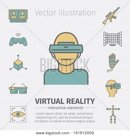 Devices for virtual reality. Immersive multimedia or computer-simulated reality. AR glasses and head-mounted display. Linear icons set. Vector illustration.
