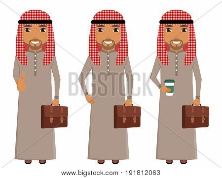 A young Arab in traditional costume with a briefcase in hand. Business and trade. A professional in his field. Confident. Set. In flat style on white background. Cartoon.