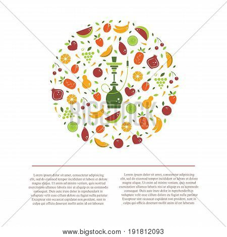 Vector hookah logo design template with fruit and place for text. Abstract flat circle emblem for hookah menu, hookah house, cafe and tobacco packaging design. Vector illustrations isolated on white.