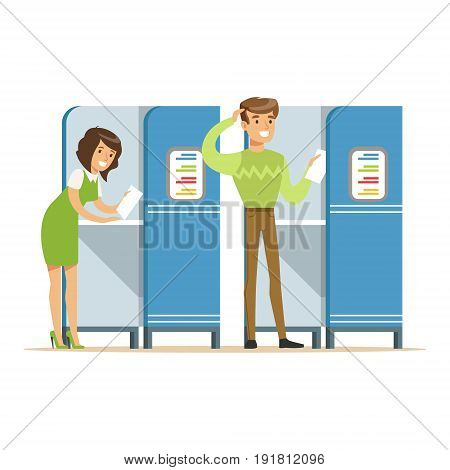 Voting booths with man and woman casting their ballots vector Illustration isolated on a white background