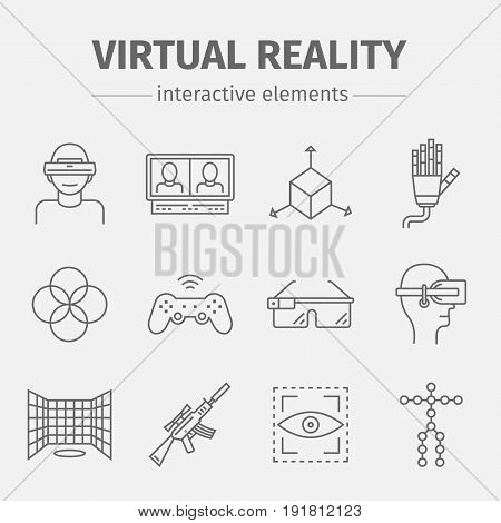 Set of vector linear icons of devices for virtual reality. Vector icons