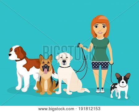 Young girl walks dog on a leash. A variety of dog breeds. Dog sitting beside its master. In flat style on blue background. Cartoon.