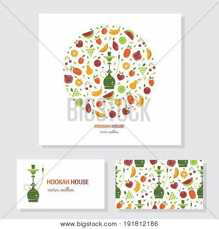Vector set of business card. Circle logo design with fruits and hookah. Perfect for hookah menu, hookah house, cafe and tobacco packaging design. Vector circle emblem isolated on white.