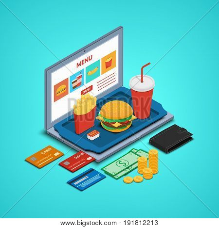 Vector illustration. Laptop with fast food order icons, tray with burger, drink and french fries on the keyboard. Money, wallet and bank cards. Isometry, 3D. Concept online restaurant.