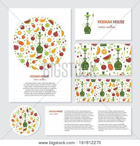 Vector set of business card. Circle logo design with fruits and  hookah. Perfect for hookah menu, hookah house, cafe and tobacco packaging design. Vector circle emblem with text isolated on white.