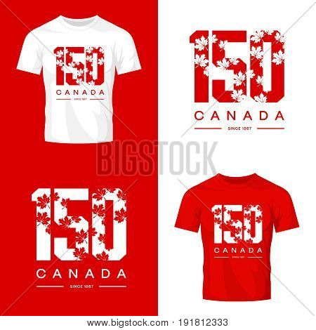 150 anniversary of the founding of Canada maple leaf texture number tee print isolated vector design. Premium quality logo concept illustration. Street wear t-shirt emblem. Modern souvenir stamp.