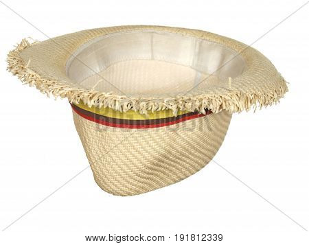 Inverted straw hat with colorful ribbon isolated on white background.