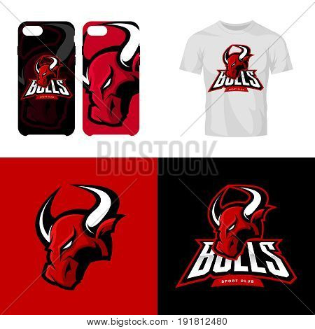 Red bull head sport club isolated vector logo concept. Modern professional team badge mascot design.Premium quality wild animal t-shirt tee print illustration. Smart phone case accessory emblem.