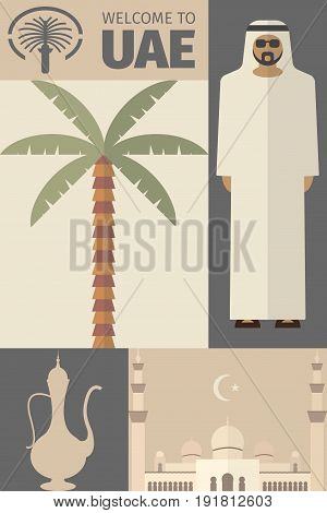 UAE Flat Icons Design, Travel Concept Poster. Vector illustration.
