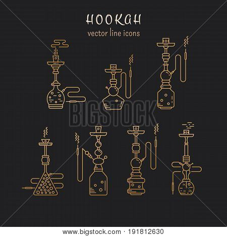 Hookah vector linear icons illustration. Set of gold hookah vector icons isolated on black background. Hookah vector golden  line collection. Smoking hookah vector