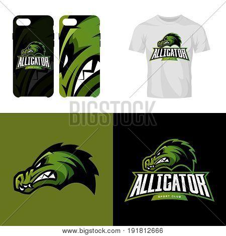 Alligator head sport club isolated vector logo concept. Modern professional team badge mascot design.Premium quality wild reptile t-shirt tee print illustration. Smart phone case accessory emblem.