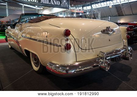 STUTTGART GERMANY - MARCH 03 2017: Full-size car Buick Super Convertible 1953. Rear view. Europe's greatest classic car exhibition